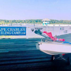 sunfish boat on dock