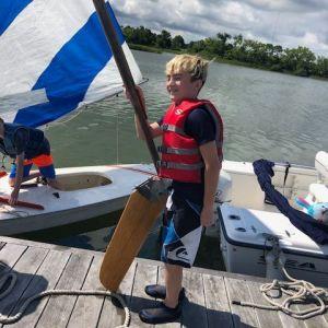 camper with boat rudder