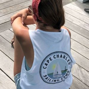 camper in camp tank top